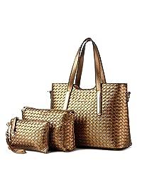 Hynbse Set of 3 Women Casual Leather Cross Body Tote Handbag Shoulder Bag