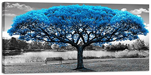 Large Black White Blue Tree Canvas Wall Art Living Room Big Print Picture Painting Abstract Nature Landscape Decoration Modern Framed Artwork Home Office Bedroom Decor 30x60in