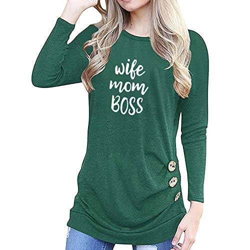 Women Tops Casual Long Sleeve O Neck Blouse Plus Size Paw Print Cat Button Print T-Shirt Green