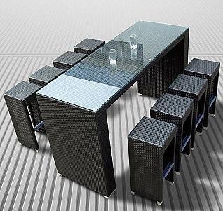 Cheap  Tosh Furniture Black Bar Set with Black Cushion