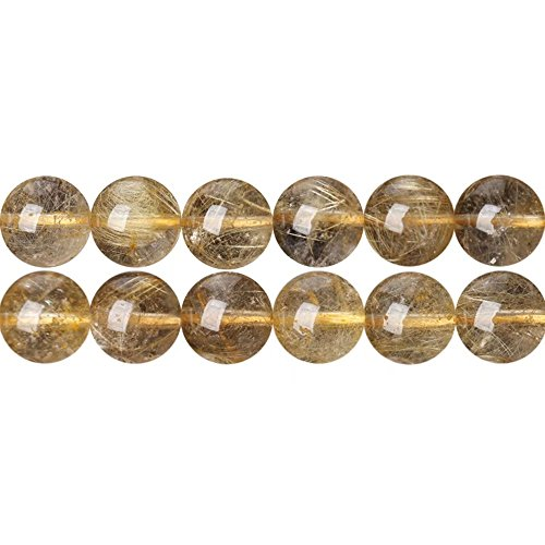 10mm Round Real Golden Rutilated Quartz Crystal Beads Materials for DIY Necklace Bracelet Earrings Jewelry Beading Sold by One Strand 15 Inch Apx 35 Pcs