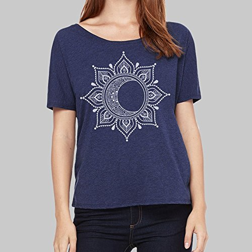 Bella Flowy Scoop Neck T Shirt For Women Moon Mandala Graphic 4 Colors ()