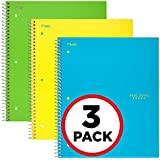 "Five Star Spiral Notebooks, 1 Subject, Graph Ruled Paper, 100 Sheets, 11"" x 8-1/2"", Teal, Yellow, Lime, 3 Pack (38629)"