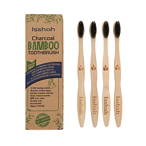 Biodegradable Eco Friendly Natural Bamboo Charcoal Toothbrush   Pack Of 4