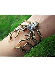 Jirong Vintage Style Antique Bronze Deer Antler Pendant Women Jewelry Bangle Chain Cuff Bracelet SL2270