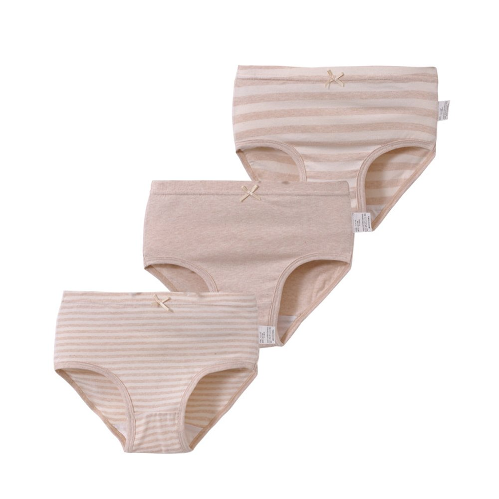 Genda 2Archer Little Big Girls' Stripe Underwear Cotton Briefs Panties 3 Pack(8-9Y)