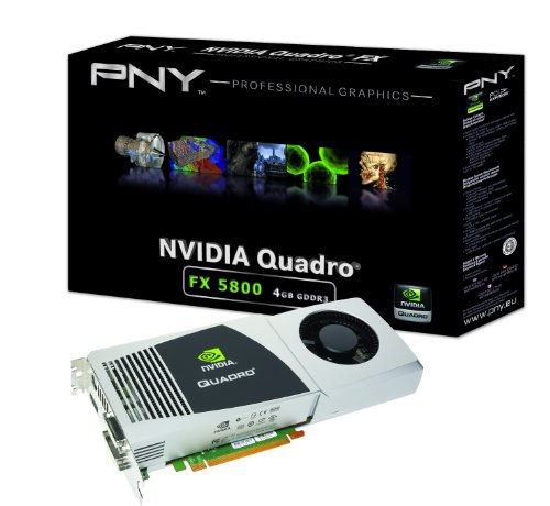 NVIDIA Quadro FX 5800 by PNY 4GB GDDR3 PCI Express Gen 2 x16 Dual DVI-I DL DisplayPort and Stereo OpenGL, DirectX, CUDA, and OpenCL Profesional Graphics Board, VCQFX5800-PCIE-PB -