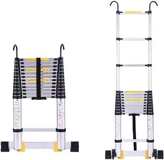 LJSJT Escalera Telescópica Escaleras de Gancho Aleación de Aluminio Ligero Casa al Aire Libre Pedal Engrosado Escaleras del ático 2.7/3.4 / .3.8/5 / 6.2m Peso del rodamiento 150kg: Amazon.es: Hogar