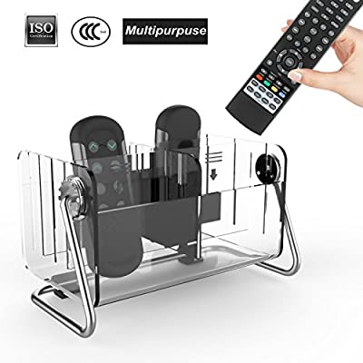 Remote Control Holder, Remote Control Organizer Acrylic Caddy Remote Holder Tidy Space Saving Metal TV Remote Control Storage With 6 Case for Table,Desk,Bedside,Coffee or End Table