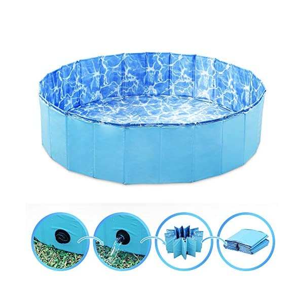 GoPetee Foldable Dog Swimming Pool Puppy Cats Paddling Pool Bathing Tub for Pet Children Kid (Ocean Wave, 80 * 20CM,) 4