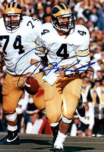 Jim Harbaugh #4 Quarterback Autograph Replica Poster - Michigan Wolverines