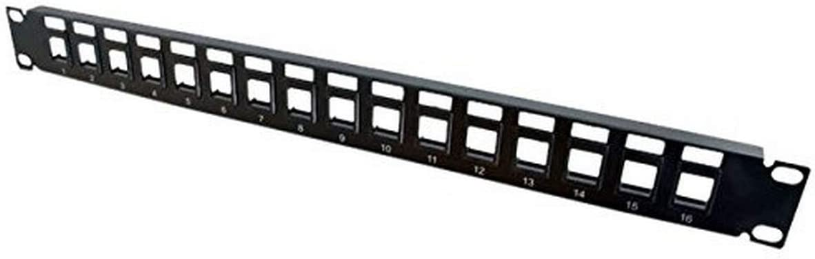 Rack de 19 pulgadas Negro DIGITUS Patch Panel Modular 1U 16 puertos Sin blindaje Para m/ódulos Keystone