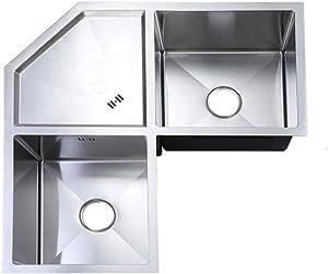 BDD Kitchen Sink Fixtures Corner Sink Stainless Steel 2 Bowl Kitchen Sink Built-in Basin W/Drain Strainer Kit