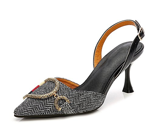 Alto Baotou Scarpe Da Sandali Shoes 38 Plaid In Pelle Spillo Nvxie Con A 7cm Nero Summer 34 Tacco Donna WqpPOxY7