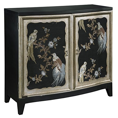 Pulaski  Old World Fabric Sewn Charlotte Bird Motif Accent Wine Cabinet, 40.3