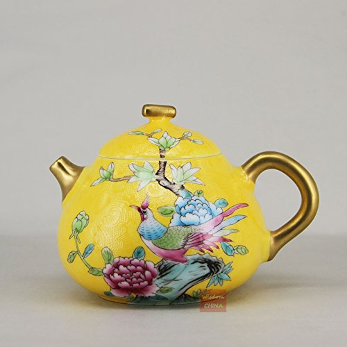 Bird flowers China Jingdezhen Pa Hua Famille-rose Porcelain Teapot 200cc ()