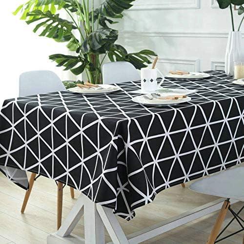 Ami0707 Nueva línea en Blanco y Negro Mantel Estilo japonés poliéster algodón Cuadrado Cuadros patrón Tela a Prueba de Polvo Mantel Boda Boda tela100cm X 140cm: Amazon.es: Hogar