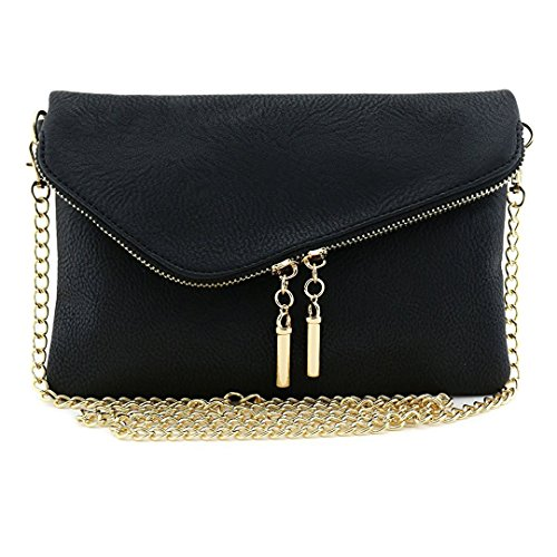 Bagblaze Envelope Foldover Wristlet Clutch Crossbody Bag with Chain Strap by Bagblaze
