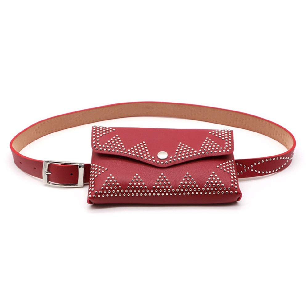 Color : Brwon, Size : Free Size Womens Belt Bags Rivets Decor PU Leather Waist Bag Fanny Pack Adjustable Removable Belt with Waist Pouch Travel Bumbag Cell Phone Money Pouch Phone Purse Handbag