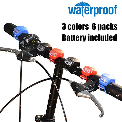 Bicycle Light, YuanGao 6 Pack Front and Rear Silicone LED Bike Light Set-Waterproof & Safety Road Cycling Lights for Mountain Roads Night Cycling – 3 Light Mode Options.