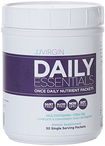 JJ Virgin - Daily Essentials, Daily Multi Vitamins, Minerals, Antioxidants & High Quality Fish Oil in One Convenient Packet, 30 Count - Omega Smart Nutrition Bar