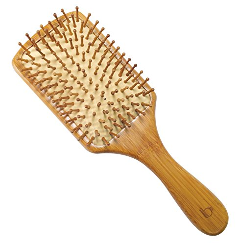 Large Square Bamboo Paddle Brush by Better Beauty Products, Massage Pins Brush, Detangling Brush, Professional Salon Brush, 100% Natural Bamboo Base with 100% Natural Bamboo Scalp Massaging Bristles (Hair Brush Paddle Natural For)
