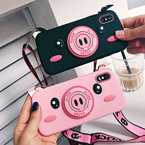 BONTOUJOUR Case for iPhone 6/ iPhone 6S, Super Cute 3D Piggy Pattern Serie Design Soft TPU Cover with Piggy Nose Ring Phone Holder Screen Protector Case for iPhone 6/ iPhone 6S -Pink Pig