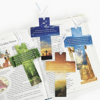 48 Pack Cross Bookmarks W/Photography and Verse - VBS, Church Gifts, Spiritual, Thinking of You, Encouragement