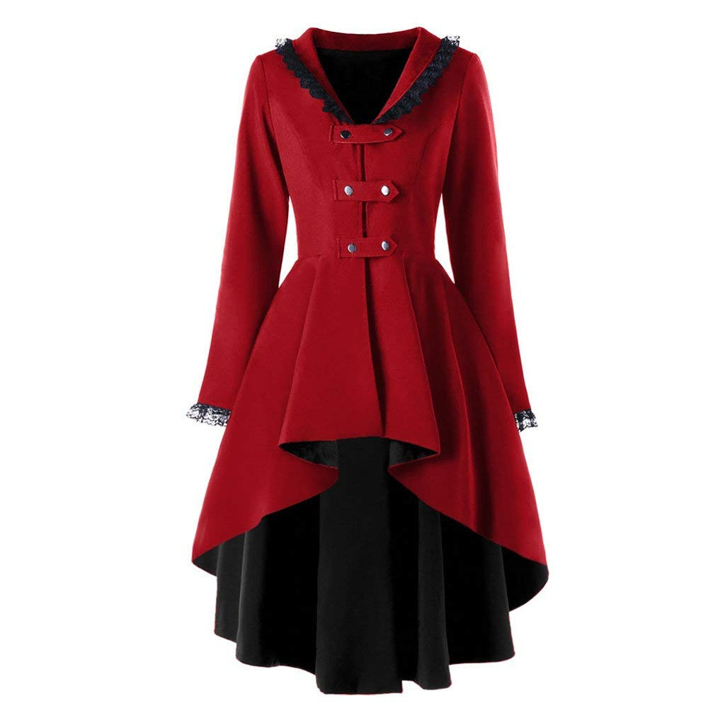 jin&Co Women Bandage Trench Coat Jacket Irregular Hem Long Sleeve Double-Breasted Halloween Costume Tops Outwear Red