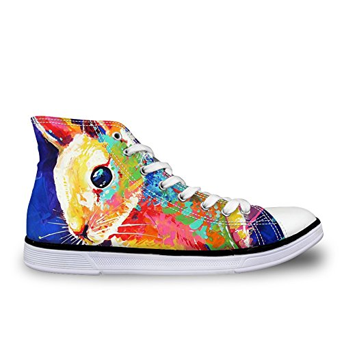 and Casual Top Canvas DESIGNS Animal Fashion Horse Wolf Owl Women Rabbit Unisex Lace Print Shoes Up Sneakers U Men For FOR High vZx6qFHnwx
