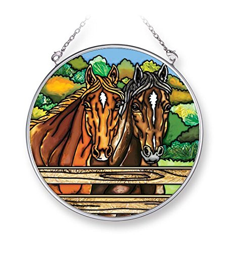 "Amia ""Fenced Horses"" Hand-Painted Glass Circle Suncatcher, 4-1/2"""