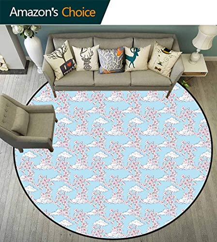 Cherry Blossom Round Rug for Nursery,Pattern with Sakura and Clouds Hand Drawn Style Spring Blossom Tree for Dining Room,Pink Cocoa Sky Blue,D-70