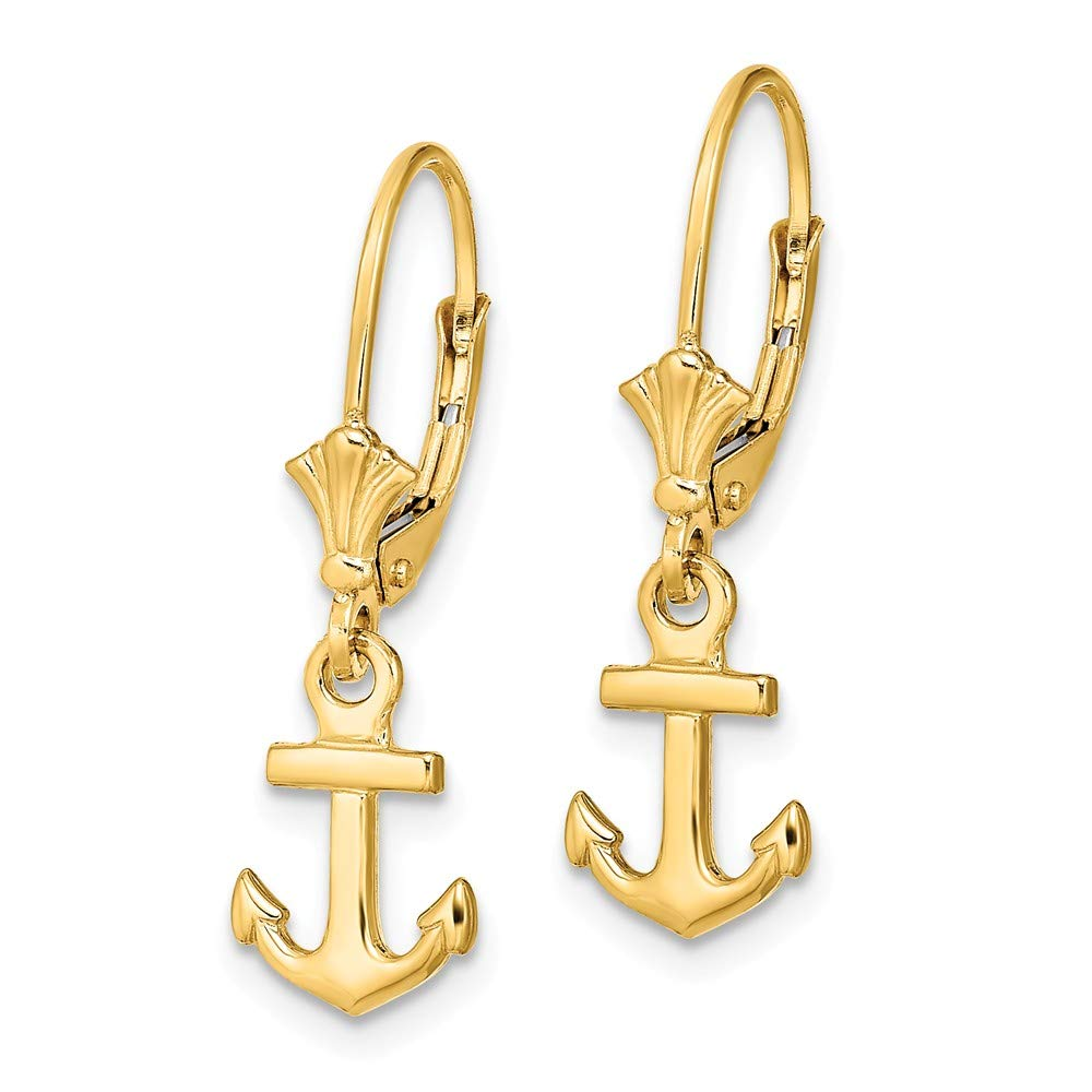 Real 14kt Yellow Gold Mini Anchor Leverback Earrings
