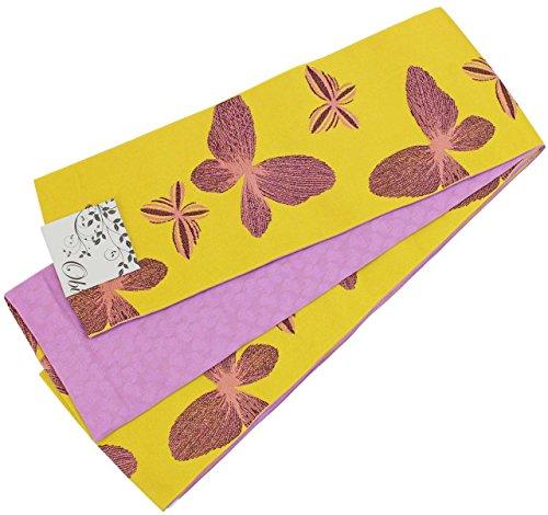 超えて送信する幸福半幅帯 レディース 黄色 紫色 蝶々柄 N0451
