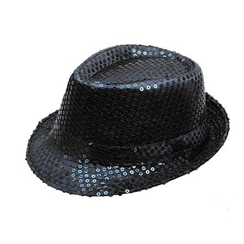 Black Sequin Fedora (FTXJ Unisex Men Women Sequined Fedora Hat For Jazz Dance Show Performances)