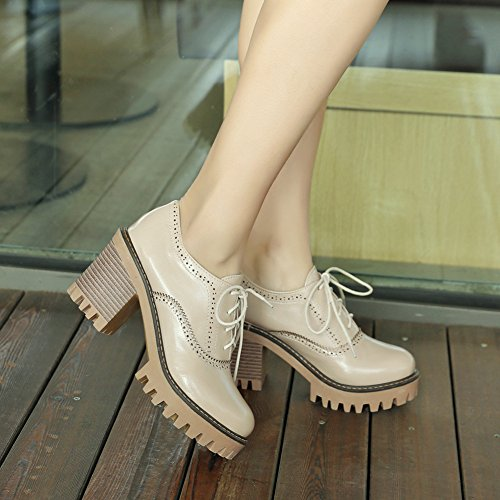 Oxfords up Block Low Stacked Round Platform Brogues High Beige Women's Lace Heels Top Shoes Color Toe Mofri Trendy Solid BOxIwP7Xq