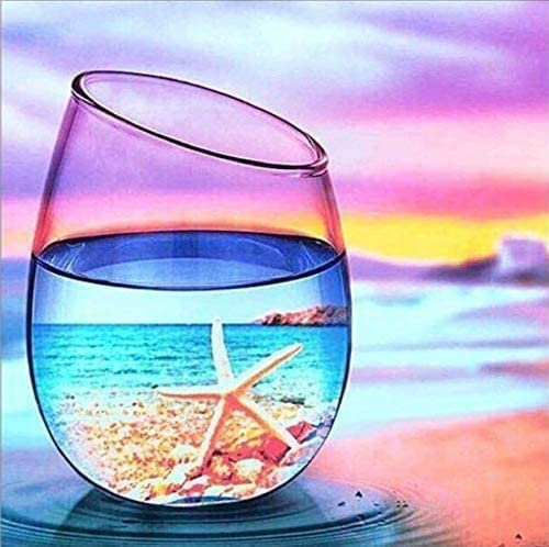 KAMIERFA Kit de Pintura de Diamante 5D DIY Diamond Painting Redondos Completos Rhinestone Picture Bordado Mosaico Pinturas Estrella de mar en copa de playa 30x30cm