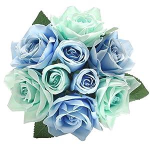 cqure artificial fake flowers silk artificial roses 9 heads bridal