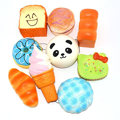 Bread Roll Costume (9PCS 10cm Jumbo Squishy Sweet Roll Panda Puffs Buns Bread Toast Toy Slow Rising)