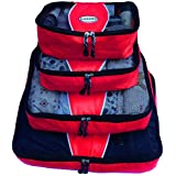 Evatex Luxury Packing Cubes, 4 Pcs Set (Red), with Laundry, Shoe Bag