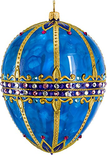 Glitterazzi Sapphire Jeweled Egg Ornament by Joy to the World