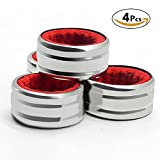 : Sunnyac Pack of 4 Kitchen Stainless Steel Wine Bottle Collars, Durable and Plated Wine Drip Ring (Red Wave)