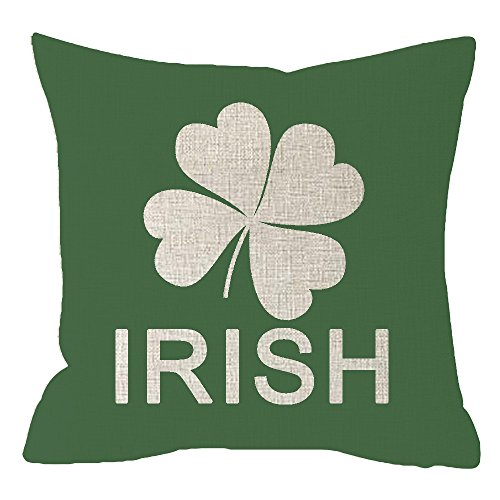 Throw Cotton Irish (NIDITW Nice Sister Gift Happy St Patricks Day Irish Lucky Leaves Shamrock Body Cotton Burlap Linen Throw Pillow Case Cushion Cover Pillowcase Sofa Couch Bench Decorative Square 18x18 Inches)