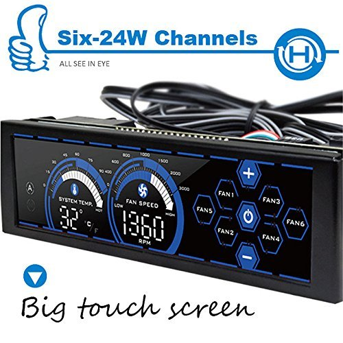 ALSEYE a-100L(B) 6 Channels Computer Fan Controller 5.25'' Blue Disply LCD Touch Screen Panel for Water Cooling Pump and Fans Control (Best Lcd Fan Controller)
