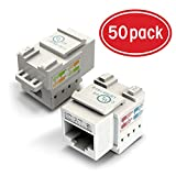 GearIT 50-Pack Ethernet Keystone, Cat6 RJ45 Punch-Down Keystone Jack Connector, White