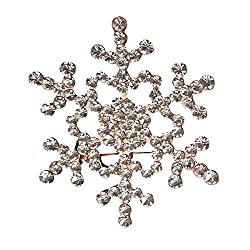 Crystal Rhinestone Large Snowflake Brooch