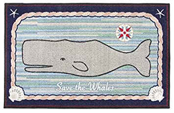 area rugs indoor outdoor nautical decor washable rugs claire murray whale 30x46 inch