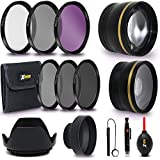 Professional 58mm Lens Accessories Kit / Bundle for Canon DSLR Cameras includes 2 Lens Kit (Telephoto, Wide Angle) 58mm Filters (UV, ND CPL, FLD), 58mm Lens Hood, Lens Cap, Cleaning Tools + More