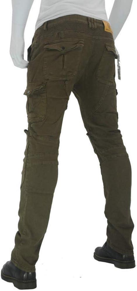 GELing Sportliche Motorrad Hose Mit Protektoren Motorradhose mit Oberschenkeltaschen ,Gr/ün,S