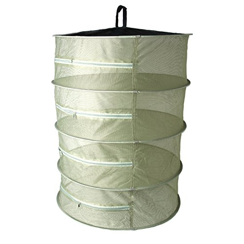 LANDUM Dry Net Collapsible 4 Layer Mesh Hanging Herbal Bud Plant Clothes Drying Rack Army Green